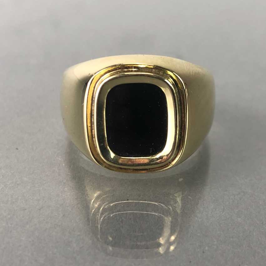 Men's ring with Onyx in yellow gold 585. - photo 3