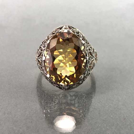Ladies ring with diamonds and citrine. Yellow gold and white gold 585. Art Nouveau 1900's. - photo 2