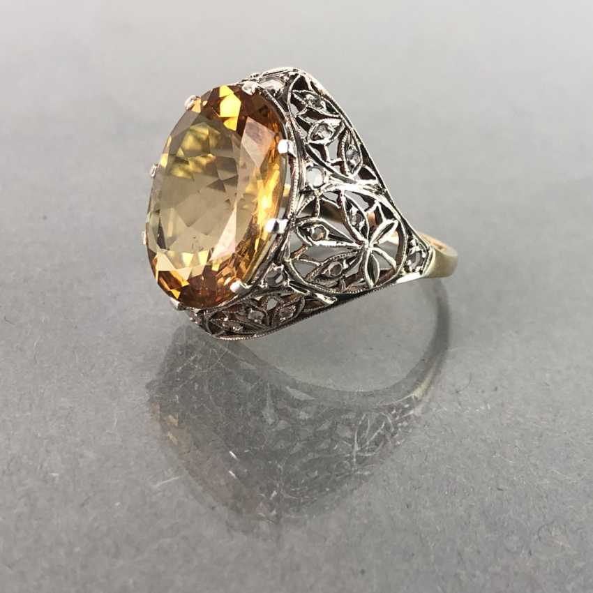 Ladies ring with diamonds and citrine. Yellow gold and white gold 585. Art Nouveau 1900's. - photo 3