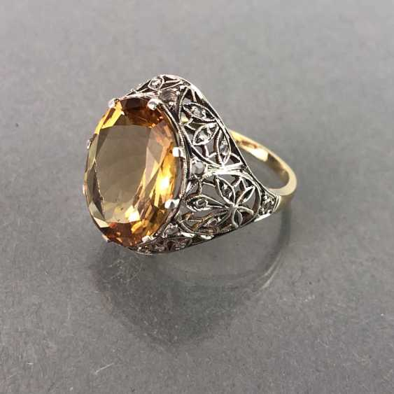 Ladies ring with diamonds and citrine. Yellow gold and white gold 585. Art Nouveau 1900's. - photo 1