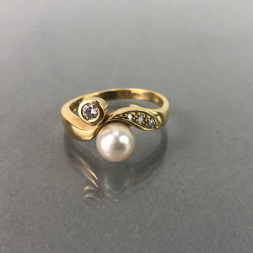 Ring / sterling silver ring with diamonds and pearl, yellow gold 750 / 18 K. brilliant - photo 1