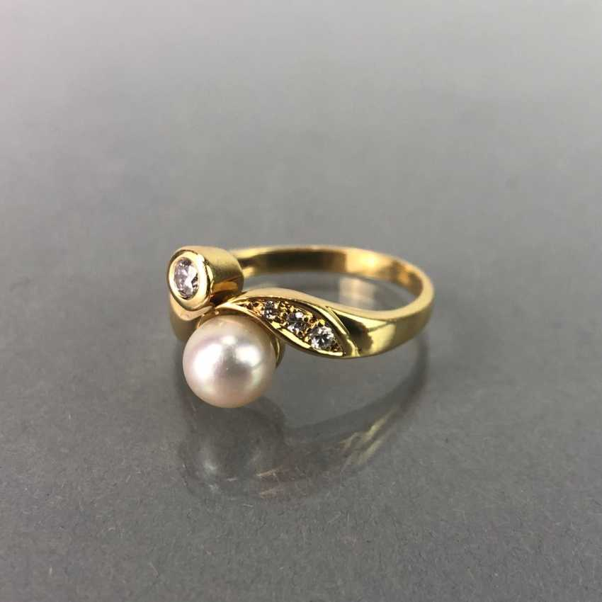 Ring / sterling silver ring with diamonds and pearl, yellow gold 750 / 18 K. brilliant - photo 2