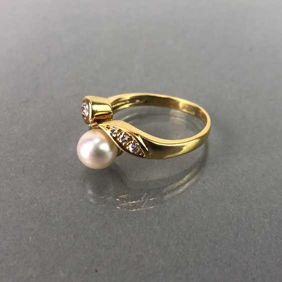 Ring / sterling silver ring with diamonds and pearl, yellow gold 750 / 18 K. brilliant - photo 3
