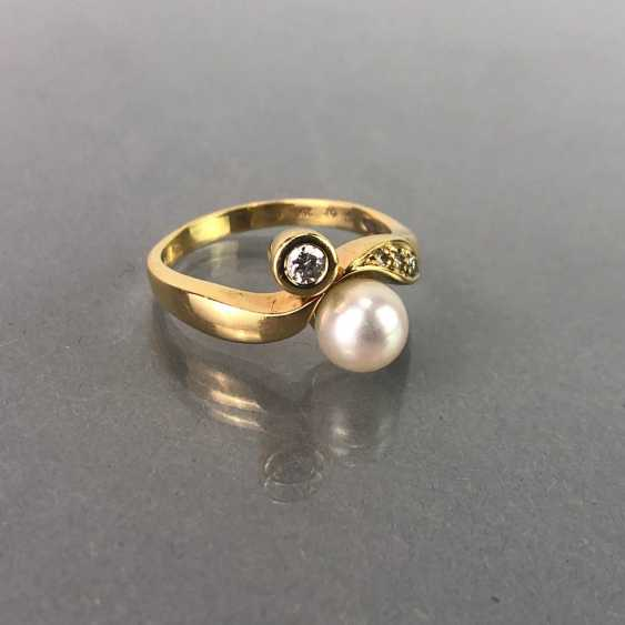 Ring / sterling silver ring with diamonds and pearl, yellow gold 750 / 18 K. brilliant - photo 4