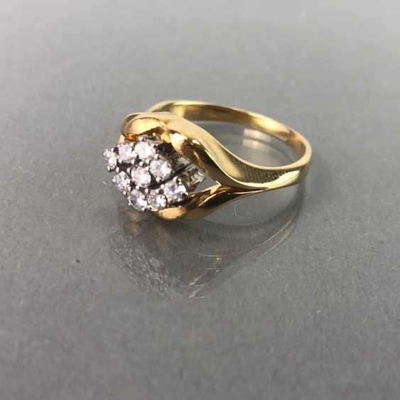 Ring / sterling silver ring brilliant with brilliant-cut diamonds of 0.7 carats. Yellow gold and white gold 750 / 18 K. - photo 3