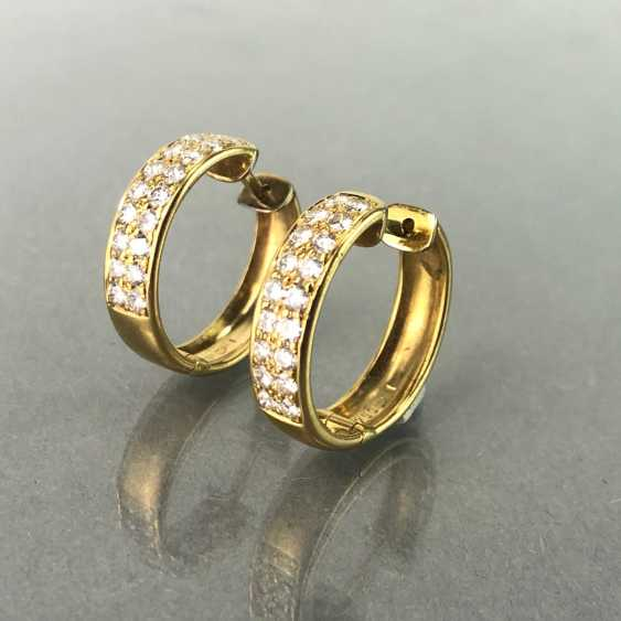 Stud Earrings Brilliant. 1,1 carat. Yellow gold 750 / 18 K mint condition, very good. - photo 1