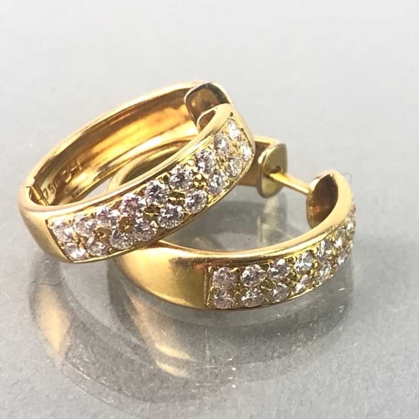 Stud Earrings Brilliant. 1,1 carat. Yellow gold 750 / 18 K mint condition, very good. - photo 2