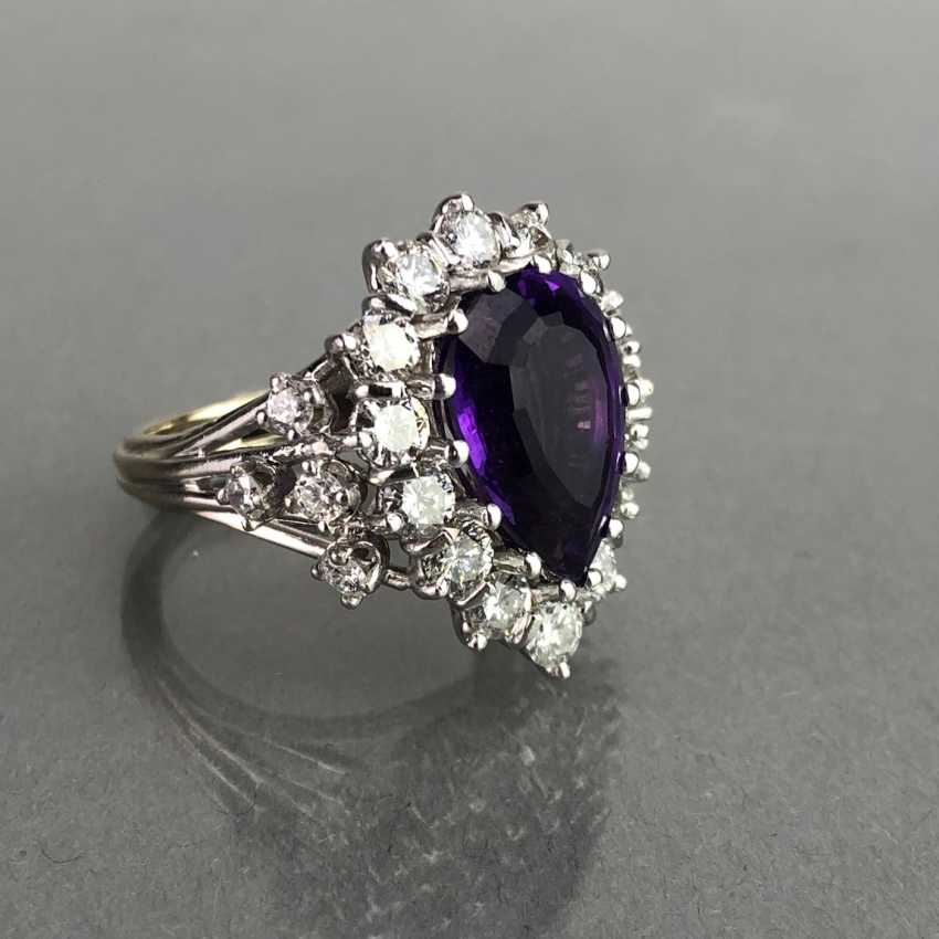 Fancy ladies ring with large Amethyst 6 carat and brilliant-cut diamonds of 2.5 carats. Gold 585 white. - photo 1