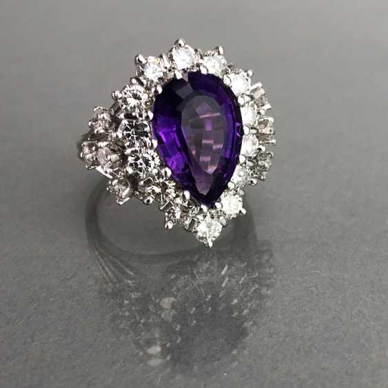 Fancy ladies ring with large Amethyst 6 carat and brilliant-cut diamonds of 2.5 carats. Gold 585 white. - photo 2