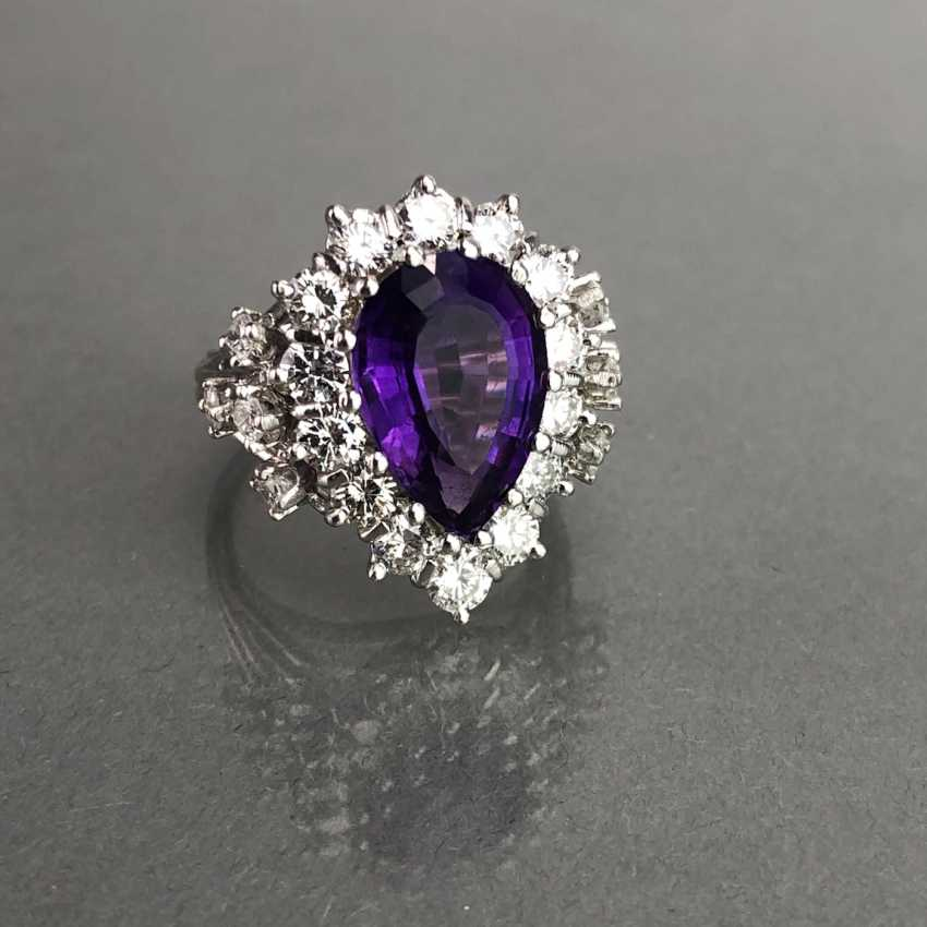 Fancy ladies ring with large Amethyst 6 carat and brilliant-cut diamonds of 2.5 carats. Gold 585 white. - photo 3