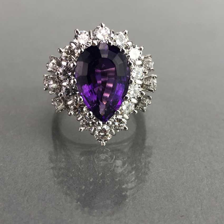 Fancy ladies ring with large Amethyst 6 carat and brilliant-cut diamonds of 2.5 carats. Gold 585 white. - photo 4