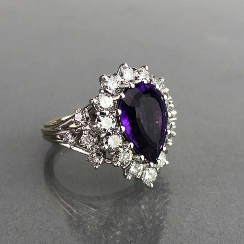 Fancy ladies ring with large Amethyst 6 carat and brilliant-cut diamonds of 2.5 carats. Gold 585 white. - photo 5