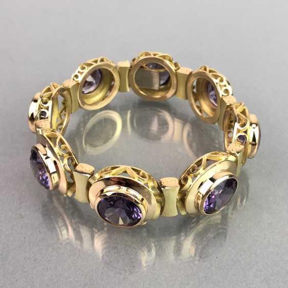 Außergewöhnliches Schmuckset: Armband, Anhänger, Ring und Ohrhänger. Gelbgold 585, Alexandrit. 150 Karat! - Foto 8