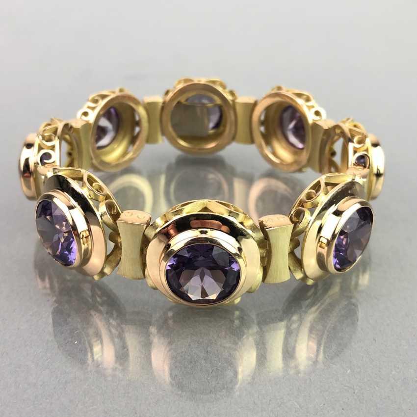 Außergewöhnliches Schmuckset: Armband, Anhänger, Ring und Ohrhänger. Gelbgold 585, Alexandrit. 150 Karat! - Foto 9