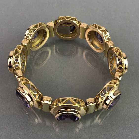 Außergewöhnliches Schmuckset: Armband, Anhänger, Ring und Ohrhänger. Gelbgold 585, Alexandrit. 150 Karat! - Foto 10