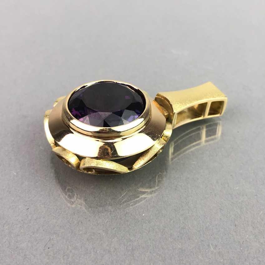 Außergewöhnliches Schmuckset: Armband, Anhänger, Ring und Ohrhänger. Gelbgold 585, Alexandrit. 150 Karat! - Foto 14