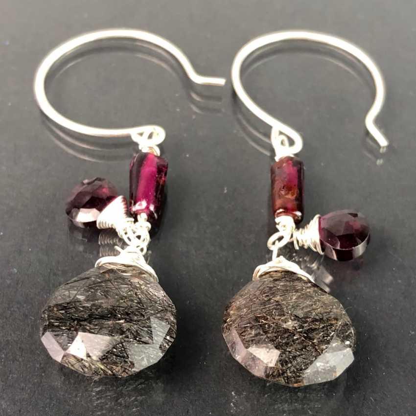 Beautiful earrings with rutilated quartz and garnet. Silver. - photo 1