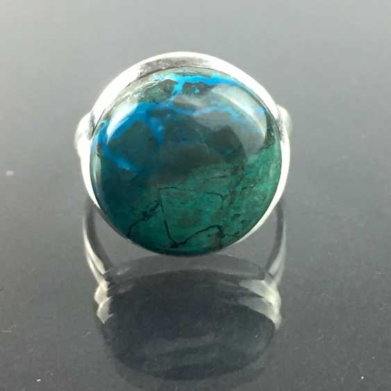 A timeless Ring with a large stone: malachite and chrysocolla from approx. 10 carats in silver 925. - photo 1