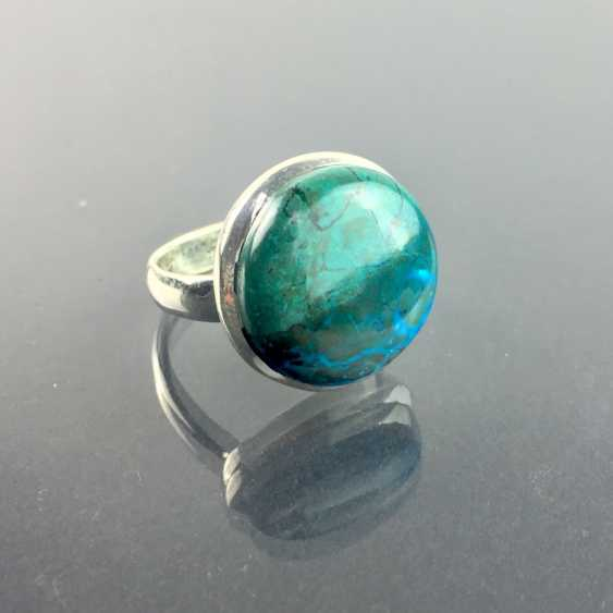 A timeless Ring with a large stone: malachite and chrysocolla from approx. 10 carats in silver 925. - photo 2