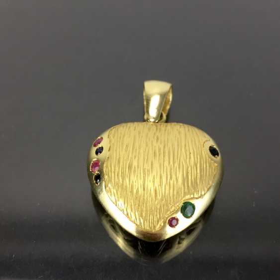 Opulent hand work pendant with rubies, Safiren, and emerald. Yellow gold 585. - photo 1