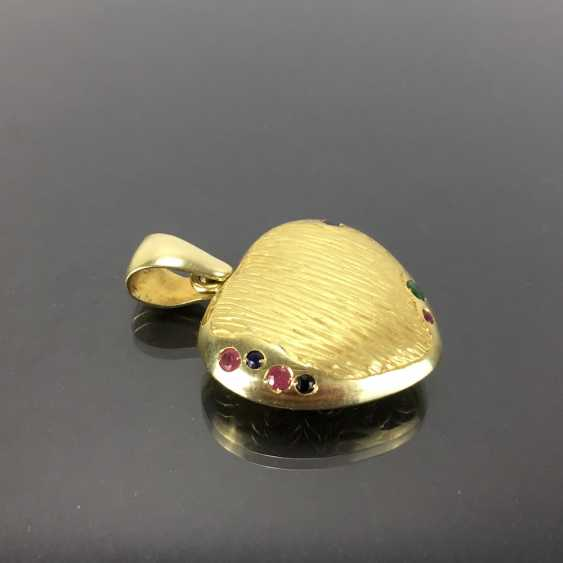 Opulent hand work pendant with rubies, Safiren, and emerald. Yellow gold 585. - photo 2