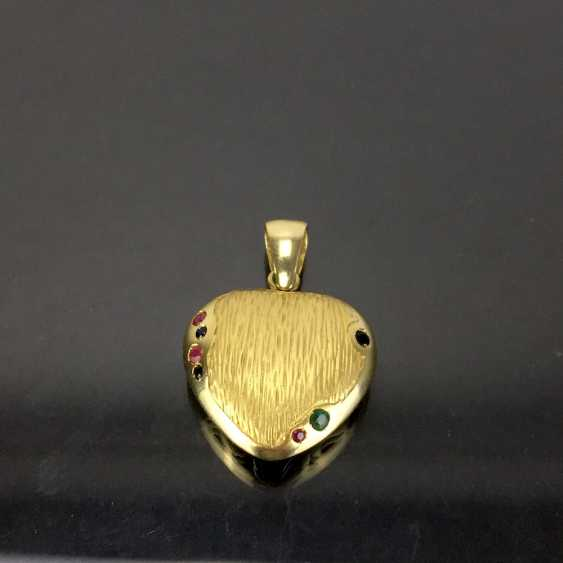 Opulent hand work pendant with rubies, Safiren, and emerald. Yellow gold 585. - photo 3