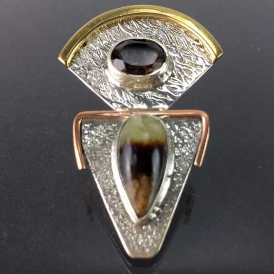 Elegant pendant in the Art Deco style smoky quartz and Sept arias, hammer finish, silver, Red/yellow gold, unique! - photo 2
