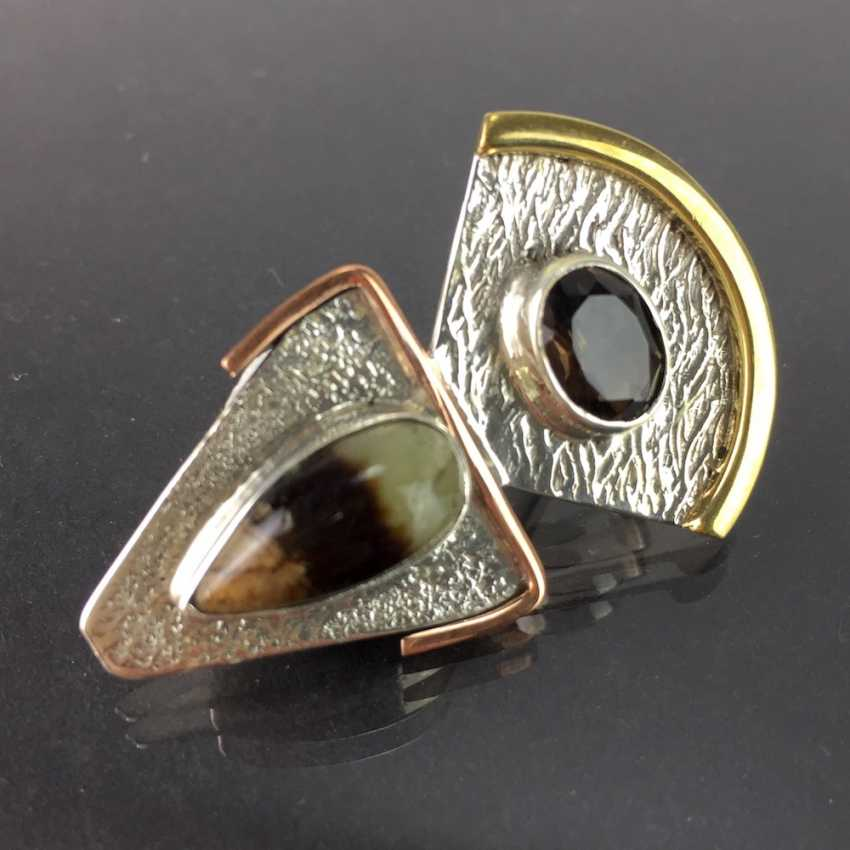 Elegant pendant in the Art Deco style smoky quartz and Sept arias, hammer finish, silver, Red/yellow gold, unique! - photo 3