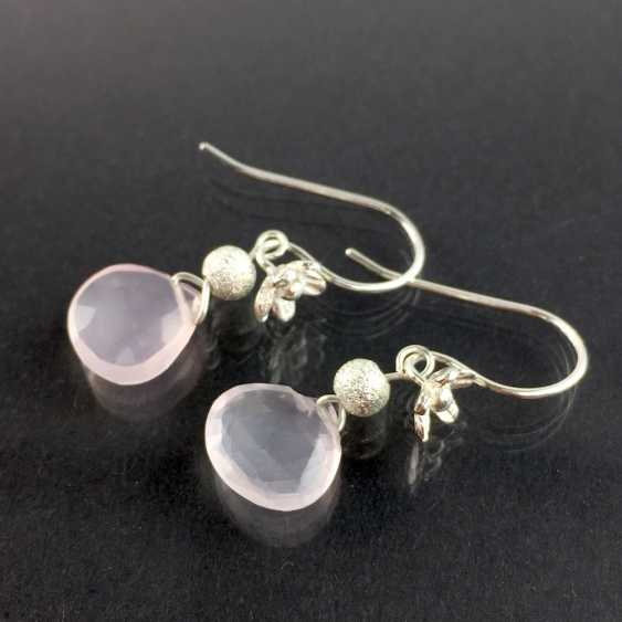 Beautiful earrings with rose quartz, silver 925, handcrafted. - photo 1