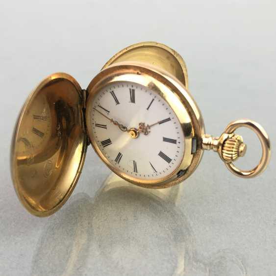 Ladies Savonette / spring lid pocket watch, three lids Gold 585, fine engraved, cylinder escapement, Switzerland around 1900, very good - photo 1