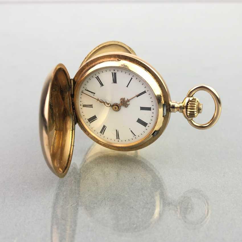 Ladies Savonette / spring lid pocket watch, three lids Gold 585, fine engraved, cylinder escapement, Switzerland around 1900, very good - photo 2