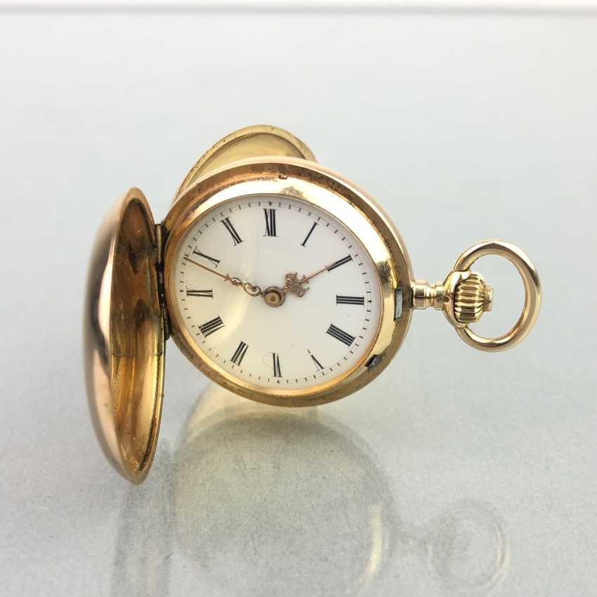 Ladies Savonette / spring lid pocket watch, three lids Gold 585, fine engraved, cylinder escapement, Switzerland around 1900, very good - photo 3