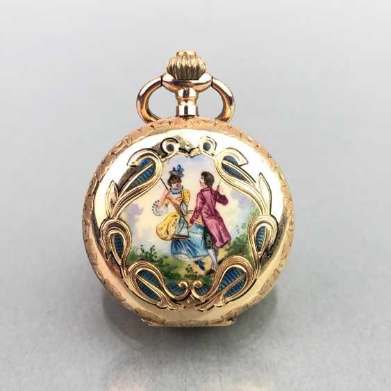 Ladies Savonette / spring lid pocket watch, three lids Gold 585, fine engraved, cylinder escapement, Switzerland around 1900, very good - photo 4