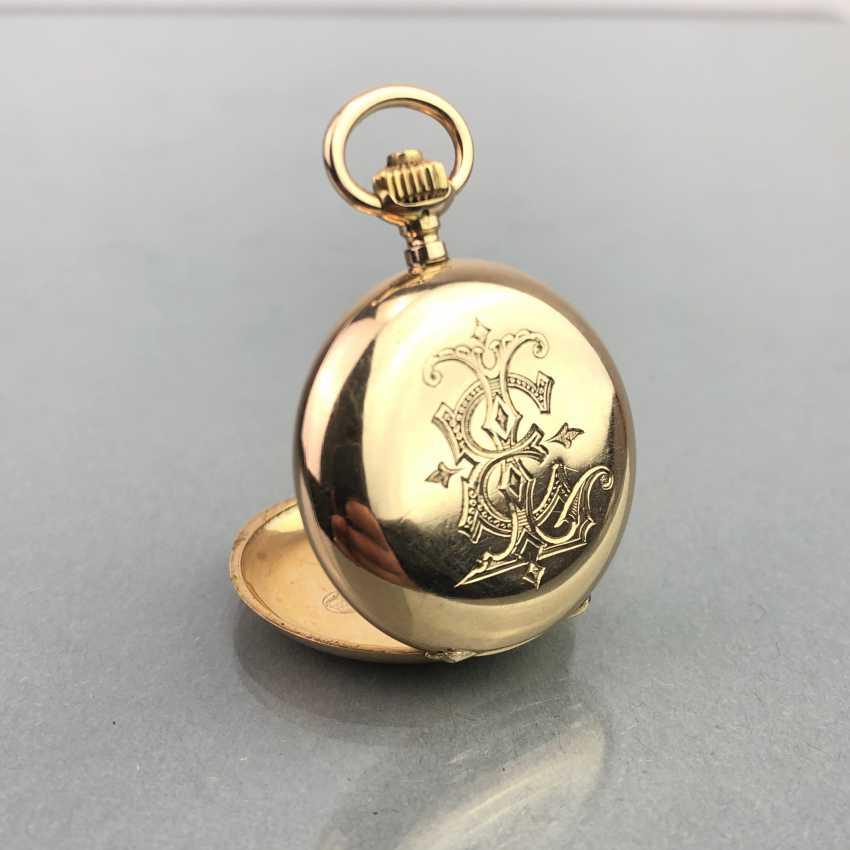 Ladies Savonette / spring lid pocket watch, three lids Gold 585, fine engraved, cylinder escapement, Switzerland around 1900, very good - photo 6