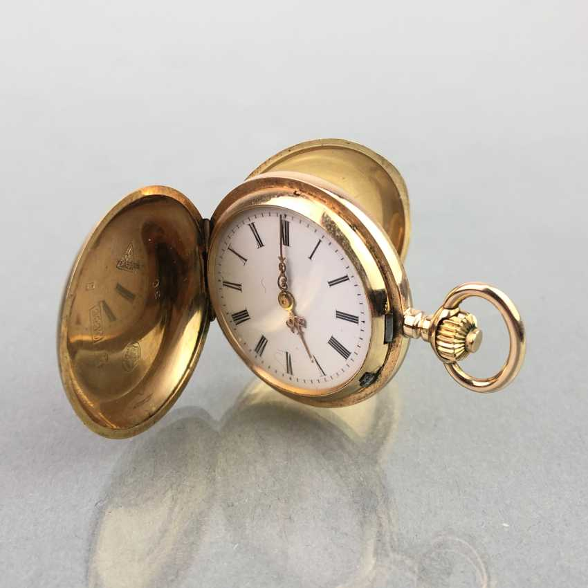 Ladies Savonette / spring lid pocket watch, three lids Gold 585, fine engraved, cylinder escapement, Switzerland around 1900, very good - photo 7