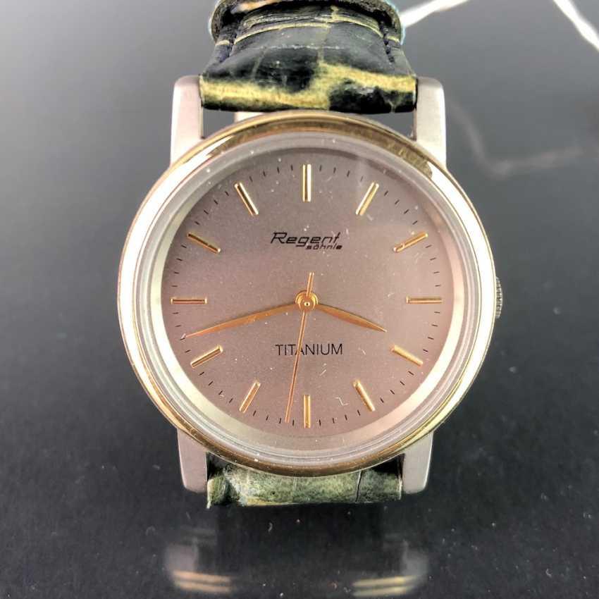 "Watch: ""REGENT Soehnle"". Leather bracelet, TITANIUM bicolor, mineral glass. Unworn, from a watchmaker's estate. Perfectly. - photo 1"
