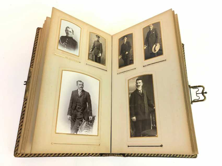 Photo album 1900's. Historical photos, military and family. Leather with gold cut. - photo 5