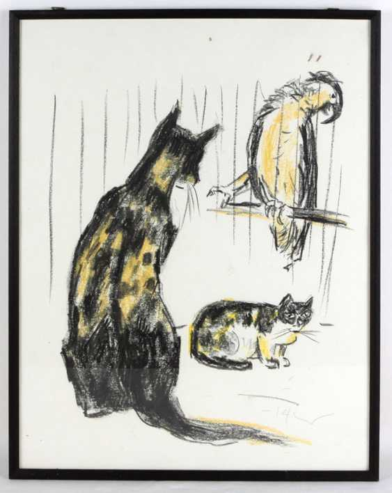 2 cats with parrot - Tetzner, Heinz - photo 1