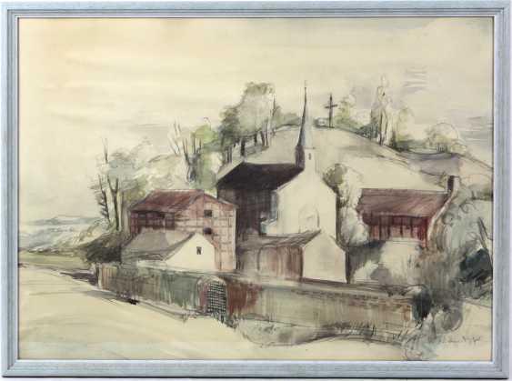 Danish landscape with a village Church - Nielsen, Baldur - photo 1