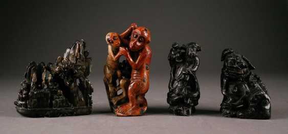 STAMPS FOUR stone figures, China, around 1900 - photo 1