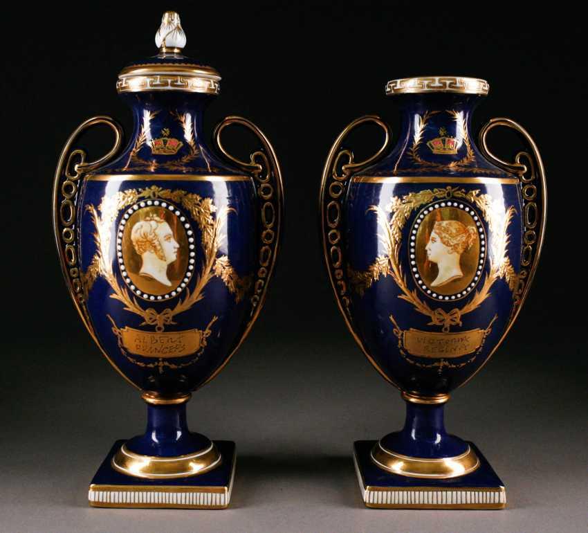 PORCELAIN PAIR of ORNATE lid vase Probably England, mid-19th century. Century - photo 1