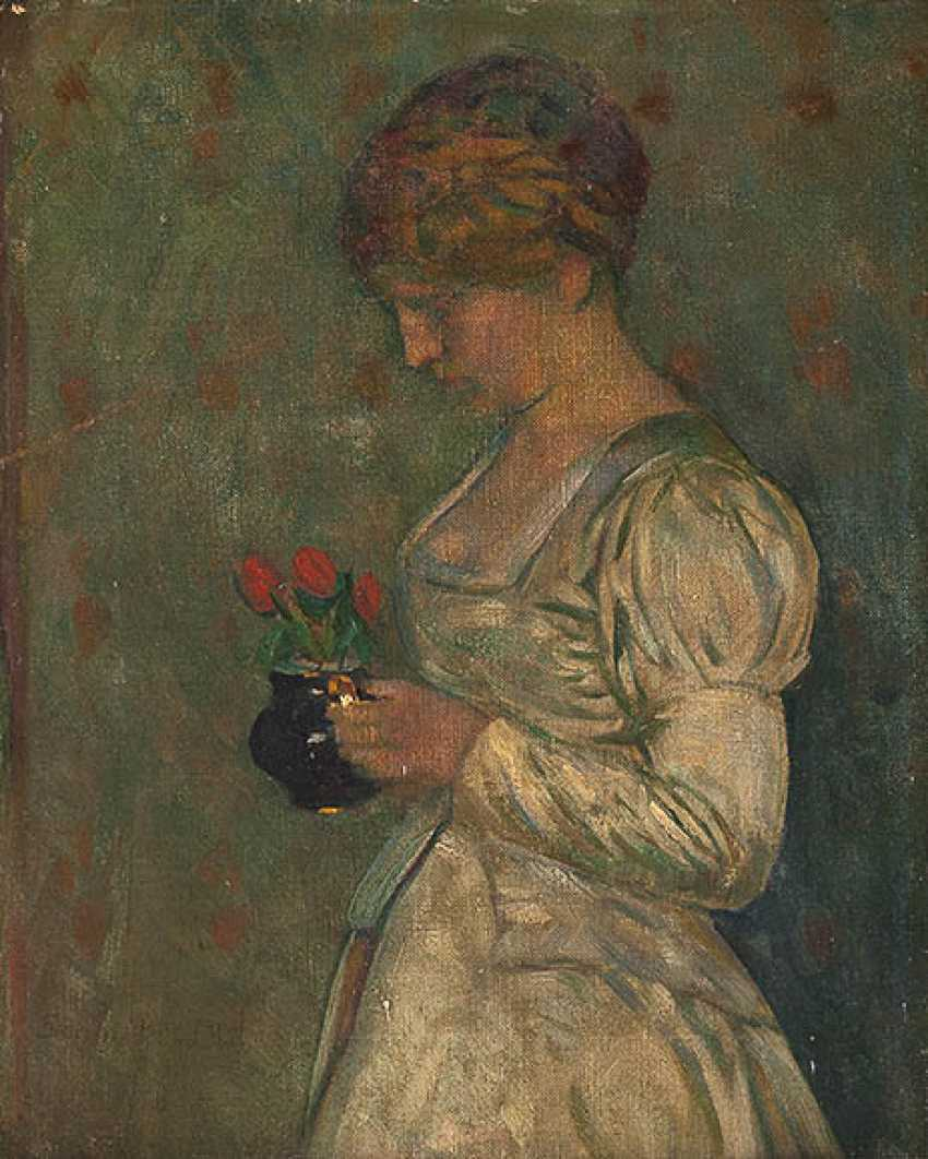 GEMÄLDE Damenportrait mit Tulpen - Foto 1