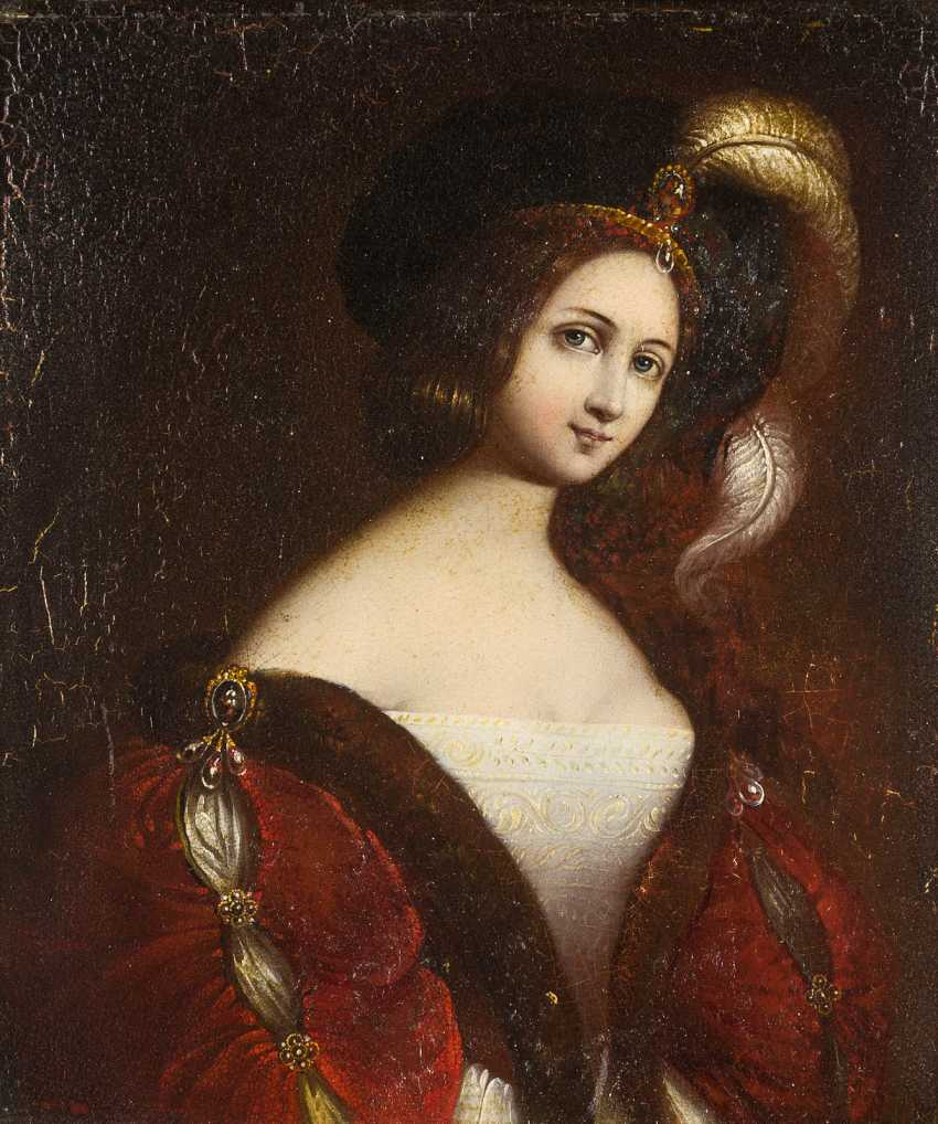 PAINTING portrait of a young woman with feather hat - photo 1