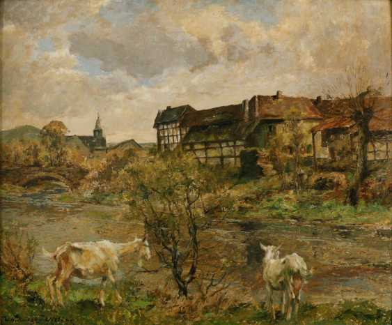 PAINTINGS river scene with a goat in front of the village - photo 1