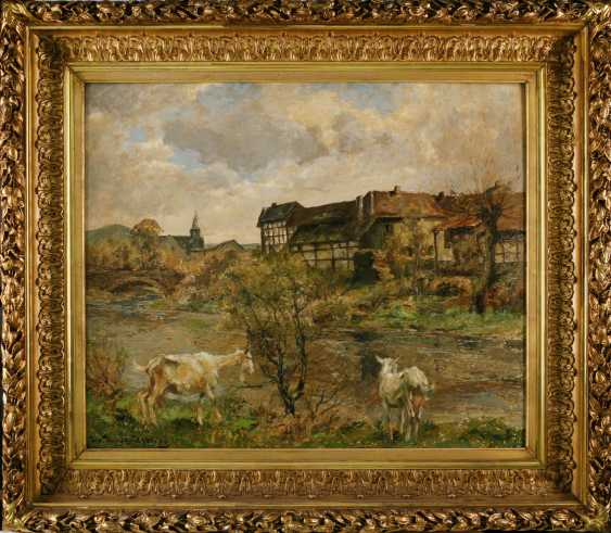 PAINTINGS river scene with a goat in front of the village - photo 2