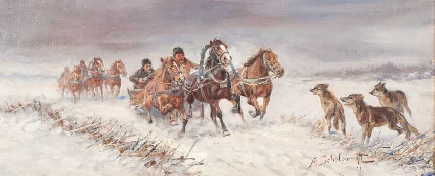 RUSSIAN PAINTINGS, Two Russian teams of horses on the run with the wolves - photo 1