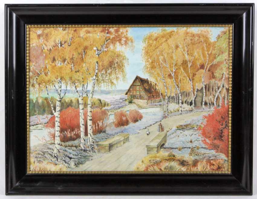 Birch trees on the way - unknown artist - photo 1