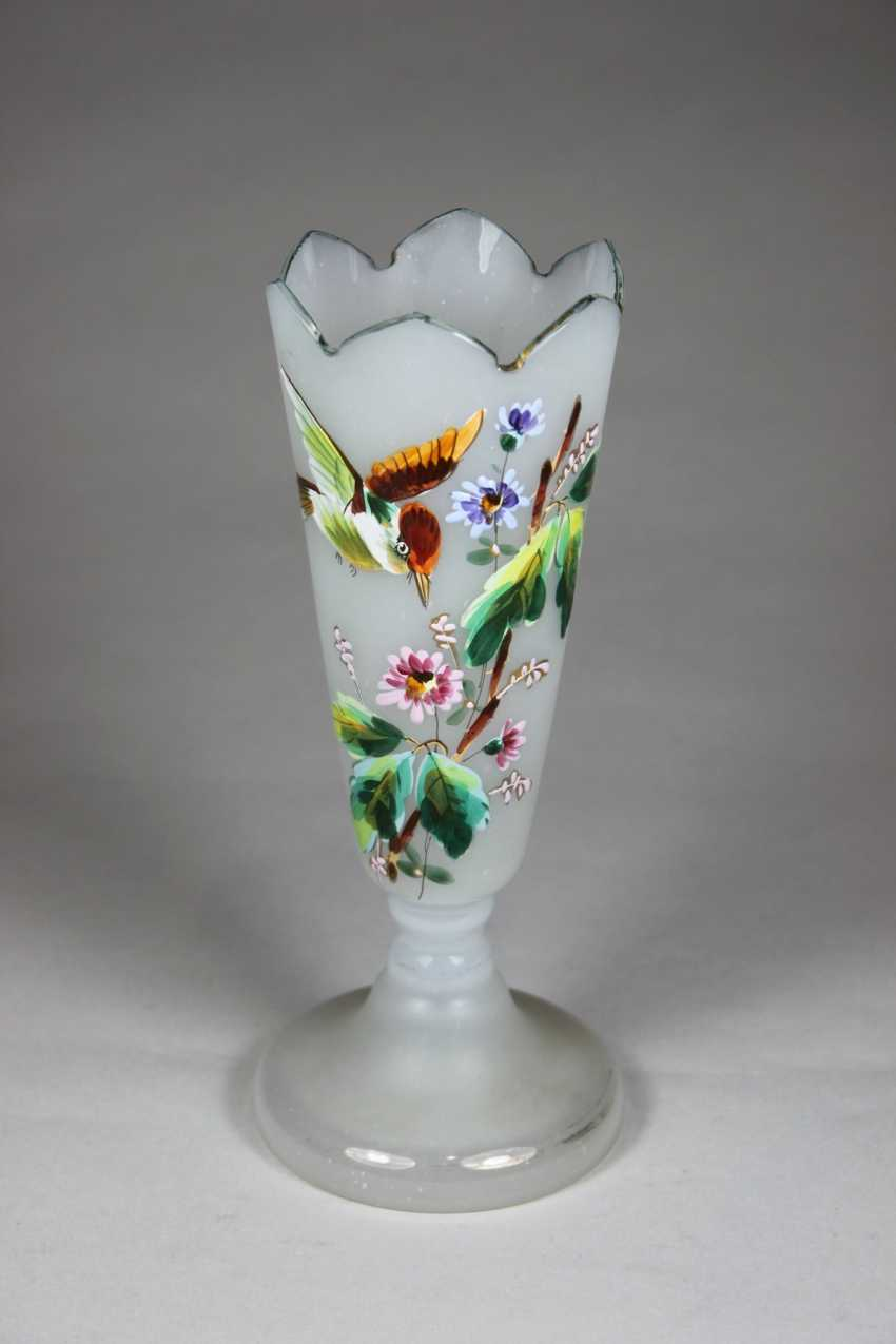 Small glass vase with floral Ornament and a bird - photo 1