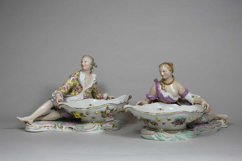 Pair of figurative Rococo porcelain dishes - photo 1