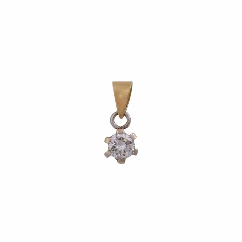 Solitaire pendant, set with diamonds approximately 0.3 ct, - photo 1